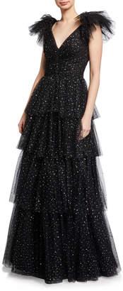 Jenny Packham Tiered Metallic Ball Gown