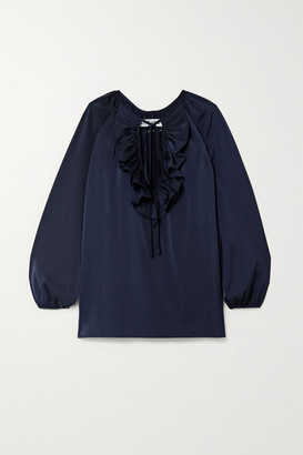 ÀCHEVAL PAMPA Gorrion Tie-detailed Ruffled Satin Blouse - Navy
