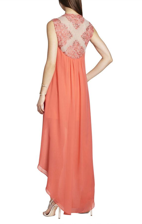 BCBGMAXAZRIA Palm-Embellished Dress