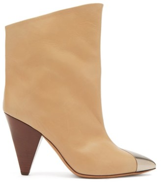 Isabel Marant Lapee Metallic-toecap Leather Ankle Boots - Light Tan