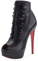 Christian Louboutin Lady Booton Peep-Toe Red Sole Platform Bootie, Black