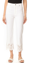Rebecca Taylor Eyelet High Rise Straight Jeans