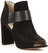 Louise et Cie Karneia Peep-Toe Leather Banded Side Cutout Shooties