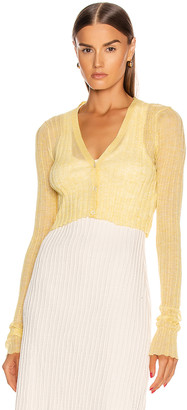 Jil Sander Cardigan Top in Light Pastel Yellow | FWRD