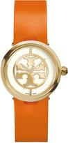 Tory Burch Women's Swiss Reva Orange Leather Strap Watch 28mm TRB4001