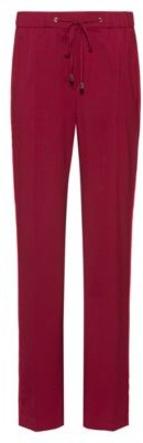 HUGO BOSS Regular Fit Pants With Drawstring Waist And Side Stripes - Dark Red