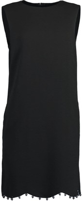 Oscar de la Renta Black Ball Trim Sleeveless Shift Dress