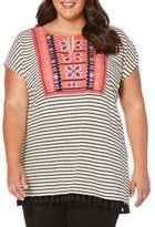 Rafaella Plus Plus Embroidered Splitneck Top