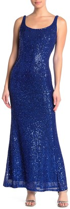 Jump Lace-Up Back Sequin Gown