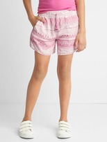 Print pull-on tassel shorts