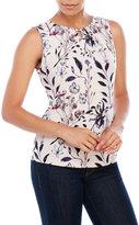 Ivanka Trump Sleeveless Floral Jersey Keyhole Top