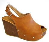 Refresh Tan Studded Mara Wedge Sandal