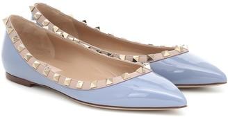 Valentino Rockstud patent-leather ballet flats
