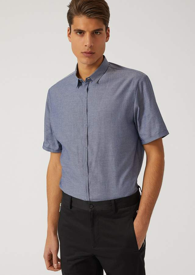 Emporio Armani Short-Sleeved Cotton Canvas Shirt