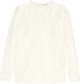 Saint Laurent Corded Guipure Lace Top - Cream