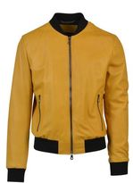Dolce & Gabbana Mustard Yellow Leather Bomber Jacket