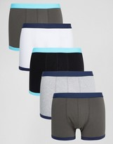 Asos Trunks With Blue Contrast Binding 5 Pack Save