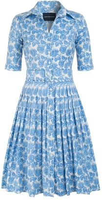 Samantha Sung Audrey Rose-Printed Belted Shirtdress