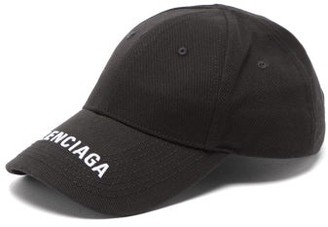 Balenciaga Logo-embroidered Cotton Baseball Cap - Womens - Black