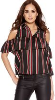 Quiz Black And Red Woven Stripe Ruffle Cold Shoulder Shirt