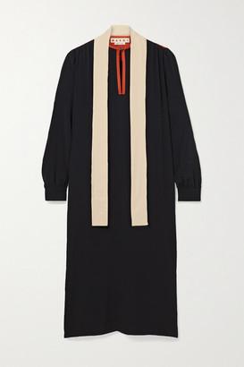 Marni Tie-neck Color-block Crepe De Chine Midi Dress - Black