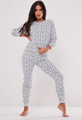 Missguided Black Dalmatian Print Loungewear Pyjama Onesie