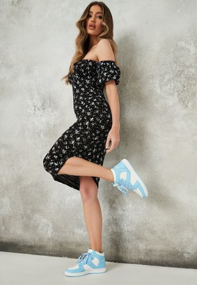 Missguided Black Ditsy Floral Print Ruched Bardot Midi Dress