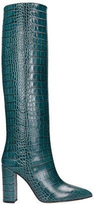 Paris Texas High Heels Boots In Green Leather