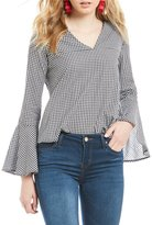 Double Zero Gingham V-Neck Bell Sleeve Top