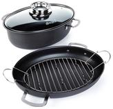Allrecipes 4-piece 3-in-1 Hard Anodized Oval Roaster Set