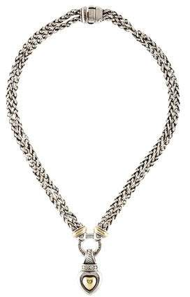 David Yurman Two-Tone Diamond Heart Double Wheat Chain Pendant Necklace