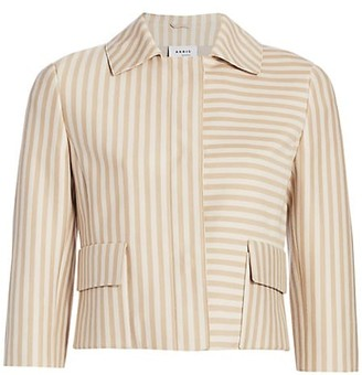 Akris Punto Back Pleat Striped Short Jacket