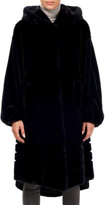 Gorski Short-Nap Mink Coat w/ Hood and Sheared Sleeves