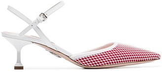 Miu Miu red and white 55 mesh and leather ankle strap pumps
