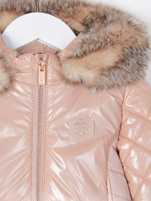 River Island Mini Mini Girls High Shine Padded Coat-Pink