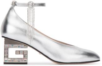 Gucci G Heel Crystal Embellished Pumps