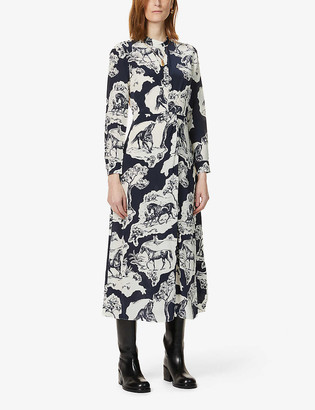 Whistles Graphic-print silk-crepe midi dress