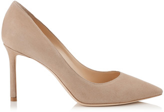 Jimmy Choo ROMY 85 Nude Suede Pointy Toe Pumps