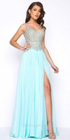 Mac Duggal V-Shape Beaded Thigh Slit Chiffon Prom Dress