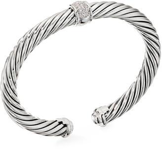 David Yurman Cable Classic Diamond Center-Station Bracelet, Size S-L