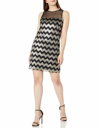 Ronni Nicole Women's Sleevless Metalic Chevron Stripe Shift
