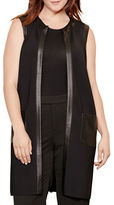 Lauren Ralph Lauren Plus Faux Leather Trim Vest