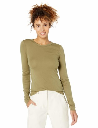 Enza Costa Women's Essential Supima Cotton Bold Long Sleeve Crew Neck Top