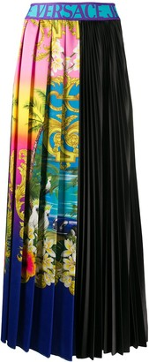 Versace tropical-print pleated midi skirt