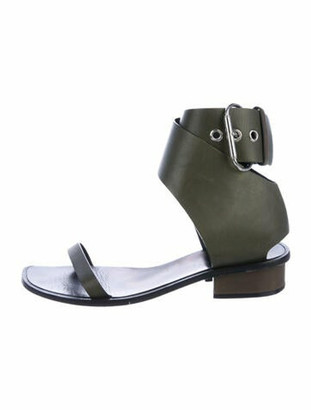 Celine Leather Ankle Strap Sandals Olive