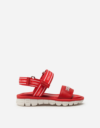 Dolce & Gabbana Beachwear Sandals In Calfskin With Ribbon Logo