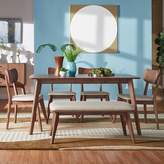 Homevance HomeVance Skagen Walnut Finish Dining Table, dining Chair & Bench 6-piece Set