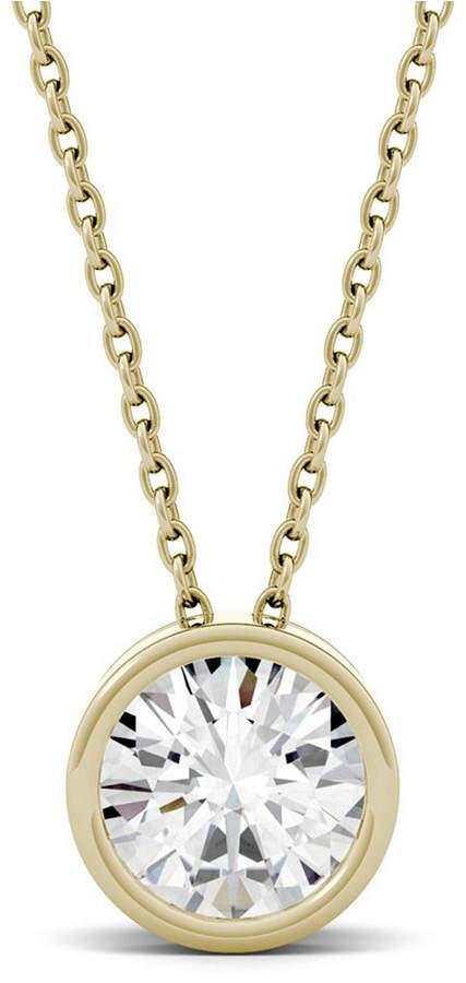 Charles & Colvard Moissanite Bezel Solitaire Pendant (1 ct. t.w. Diamond Equivalent) in 14k White or Yellow Gold