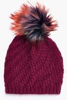 boohoo Ella Faux Fur Pom Textured Beanie