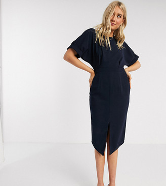ASOS DESIGN Tall wiggle midi dress in navy